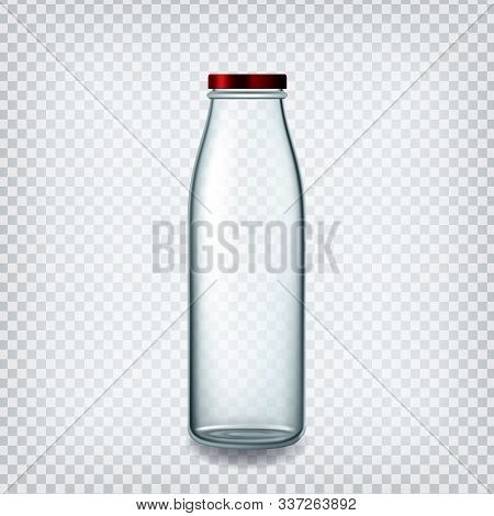 Glass Bottle Closed By Red Cap For Milk Vector. Empty Bottle For Breakfast Non-alcoholic Healthy Dri
