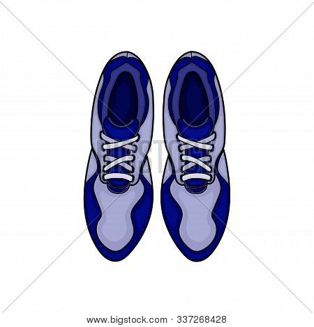 Shoe Icon Simple Sign. Shoe Icon Flat Vector Illustration. Vector Design A Pair Of Blue Shoes With A