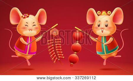 Happy Chinese New Year, 2020 Lunar Year Of Rat Holiday Vector Design. Cartoon Rats Boy And Girl With