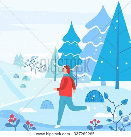 Man Wearing Earmuffs And Warm Clothes Running In Forest. Snowing Weather In Winter Landscape With Pi