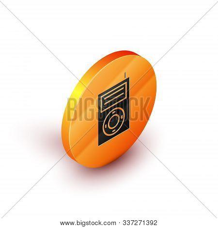 Isometric Music Mp3 Player Icon Isolated On White Background. Portable Music Device. Orange Circle B