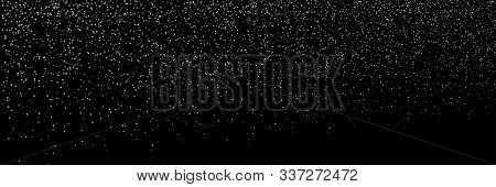 Falling Snow Background. Snowfall On Black Background. Falling Snowflakes. Winter Christmas Backgrou