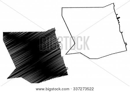 Mubarak Al-kabeer Governorate (state Of Kuwait, Governorates Of Kuwait) Map Vector Illustration, Scr
