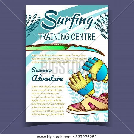 Gloves, Surfing Shoes And Seaweed Banner Vector. Swimming Gloves Part Of Wetsuit And Surfboard On Su