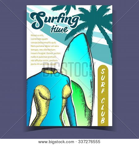Swimming Suit For Woman And Board Banner Vector. Female Swimming Wetsuit, Surfboard And Palms For Su
