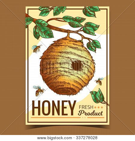 Beehive House Of Wild Bee On Branch Poster Vector. Organic Nature Wax Bee Home With Circular Entranc
