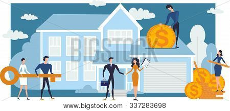 Concept Mortgage Loan. Flat People Conclude A Mortgage Agreement Buy Real Estate And Pay Credit. Pro