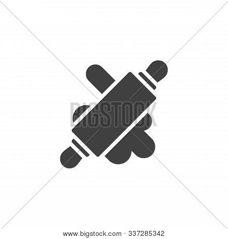 Rolling Pin With Dough Vector Icon. Filled Flat Sign For Mobile Concept And Web Design. Rolled Dough