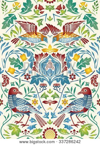 Vintage Flowers And Birds Seamless Pattern On Light Background. Color Vector Illustration Made In Mi