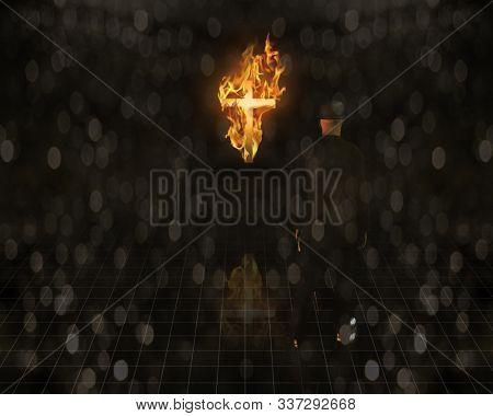 Burning Cross in the Dark is Viewed by Man. 3D rendering