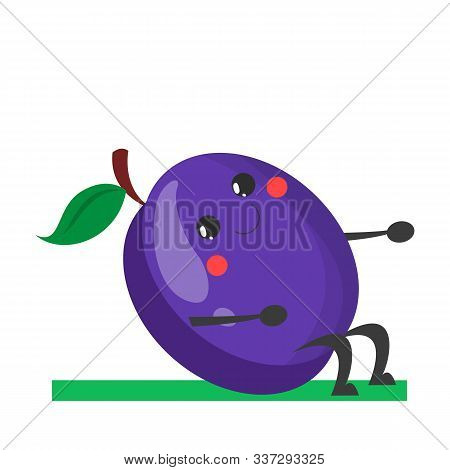 Plum Character Doing Crunches Vector Isolated. Cute Happy Fruit
