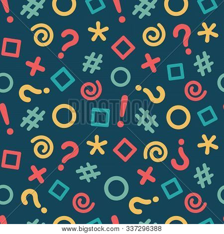 Seamless Pattern With Illustration Of Geometric Shapes And Grammar Icons