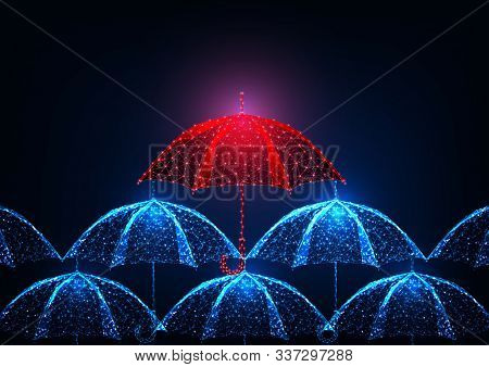 Futuristic Uniqueness, Stand Out Concept With Glowing Low Polygonal Red Umbrella In A Crowd Of Blue