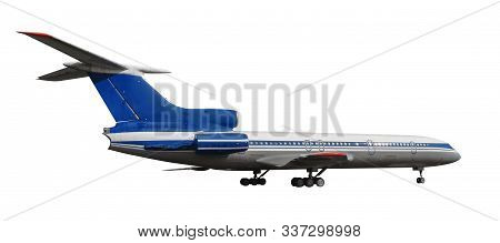 Scale Model Of Old Tu-154 Is A Soviet Airlifter Designed By The Tupolev Design Bureau. Photo With Cl