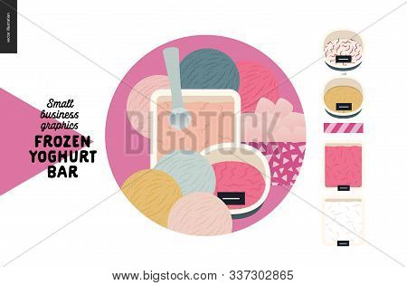 Frozen Yoghurt Bar - Small Business Graphics - Menu Icon And Food -modern Flat Vector Concept Illust