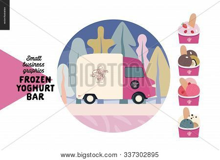 Frozen Yoghurt Bar - Small Business Graphics - Delivery And Catering Icon -modern Flat Vector Concep