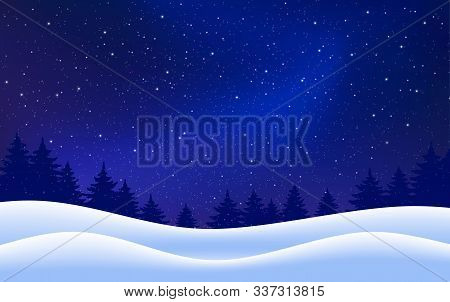 Vector Winter Starry Background. Night With Fir Trees Snow Dark Blue Sky. Vector Illustration. Merry