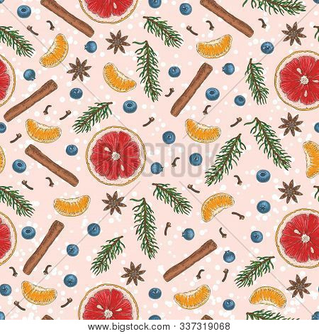 Christmas Seamless Pattern. Blueberry, Grapefruit, Tangerine, Spices And Fir Branches On Pink Backgr