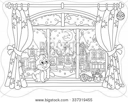 Little Curious Kitten Sitting On A Windowsill, Looking Through A Window At The Bright Moon Over A Be