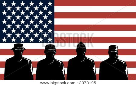 Military Servicemen And Us Flag