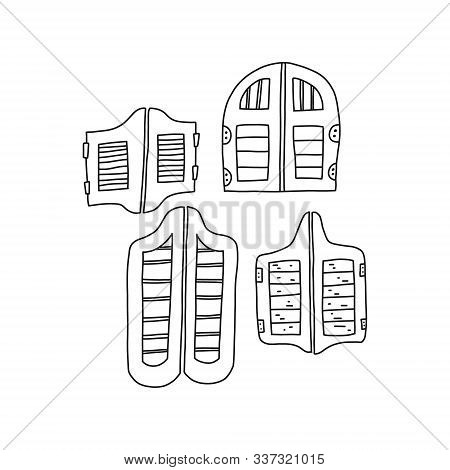 Traditional Retro Door Saloon, Vector Illustration. Set Wooden Doors In Tavern In Wild West. Hallmar