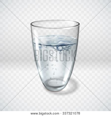 Realistic Glass Glasses Water Bubbles Illustration. A Glass Of Clean Aerated Water On A Transparent