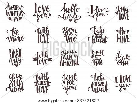 Lettering Inscriptions Valentines Day Set. 20 Hand Lettering Romantic Valentine Quotes. Hand Drawn H