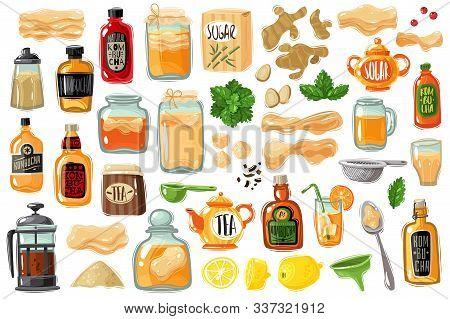 Kombucha Tea Set. Large Set In Cartoon Style On The Theme Of Kombucha, Accessories, Ingredients, Add