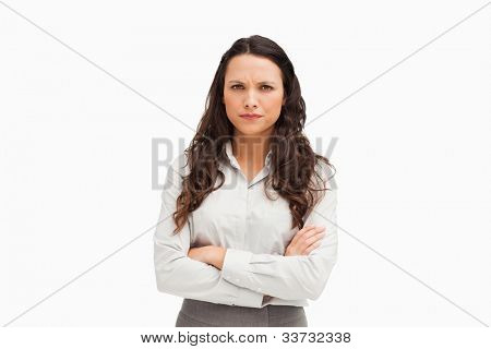 Portrait of a vexed employee against white background