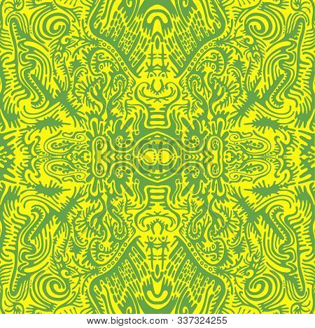 Bright Sunny Psychedelic Trippy Abstract Mandala With Original Patterns, Juicy Contour Green On A Ye