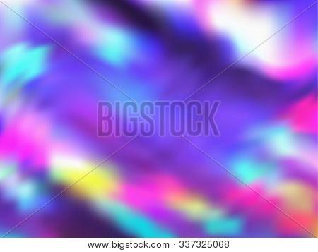Blurred Hologram Texture Gradient Wallpaper. Modern Neon Party Graphics Background. Polar Lights Liq