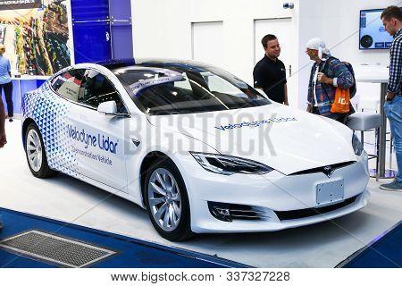 Frankfurt Am Main, Germany - September 17, 2019: White Electric Car Tesla Model S Velodyne Lidar Pre