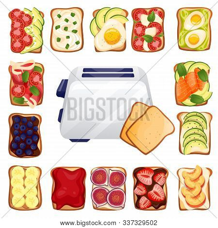 Toasted Bread With Various Delicious Toppers And Toaster. Breakfast Vector Top View Cartoon Icons. R