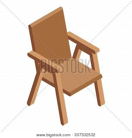 Patio Wood Chair Icon. Isometric Of Patio Wood Chair Vector Icon For Web Design Isolated On White Ba