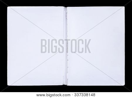 Inside Part Of A White Book Front Cover Isolated On A Black Background.