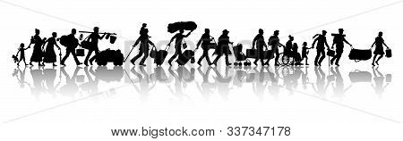 Asylum Seekers Silhouette. The Silhouette Objects, Shadows And Background Are In Different Layers.