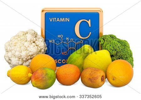 Foods Highest in Vitamin C, Ascorbic Acid. 3D rendering isolated on white background poster