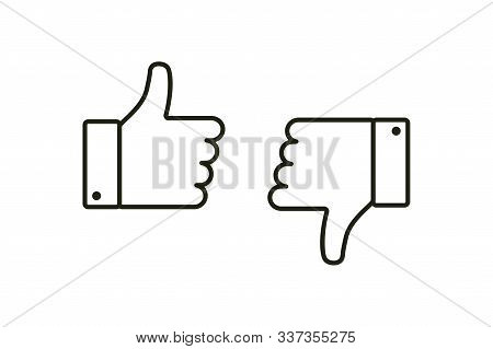 Thumb Up And Down. Isolated Vector Flat Outline Icon. Social Media Icon. Vector Button. Black Thumb