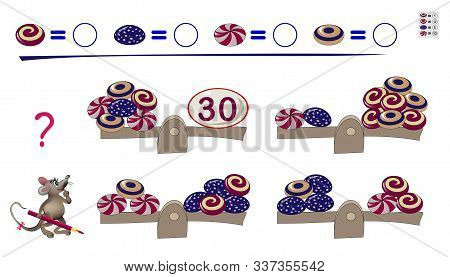 Mathematical Logic Puzzle Game For Children And Adults. Count The Value Of Each Coin In Primitive Pe