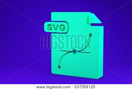 Green Svg File Document. Download Svg Button Icon Isolated On Blue Background. Svg File Symbol. Mini