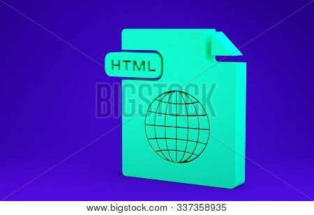 Green Html File Document. Download Html Button Icon Isolated On Blue Background. Html File Symbol. M