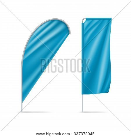 Blue Teardrop And Rectangular Flags Mockups. Realistic Stationary Expo Banners For Outdoor Presentat