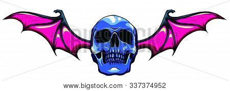 A Winged Skull Bat Or Dragon Wings In A Vintage Woodcut Etched Or Engraved Style. Vector