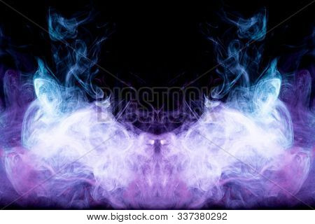 Dense Multicolored Smoke Of   Blue And Purple Colors In The Form Of A Skull, Monster, Dragon On A Bl