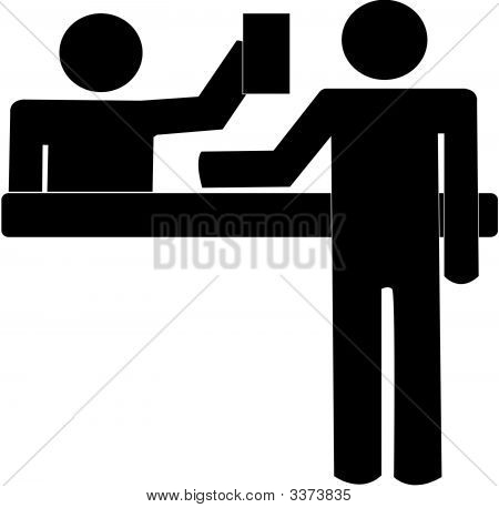 Stick Man Getting Help At Desk.