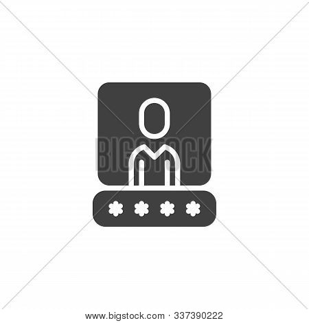 User account password vector icon. filled flat sign for mobile concept and web design. Username password glyph icon. Data authorization symbol, logo illustration. Vector graphics poster