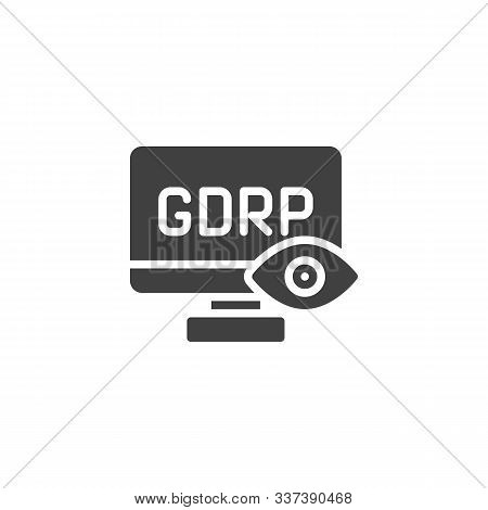 Gdpr Privacy Computer Vector Icon. Filled Flat Sign For Mobile Concept And Web Design. Gdpr Computer