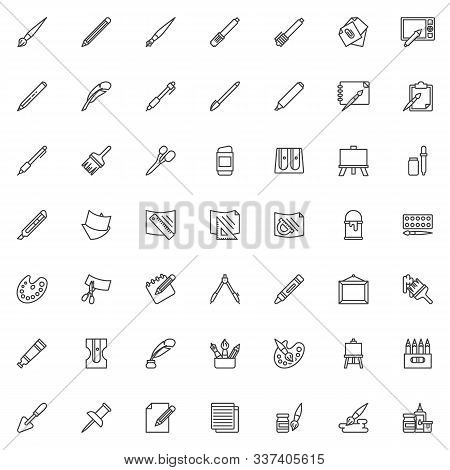 Drawing Tools Line Icons Set. Art Supplies Linear Style Symbols Collection, Outline Signs Pack. Vect