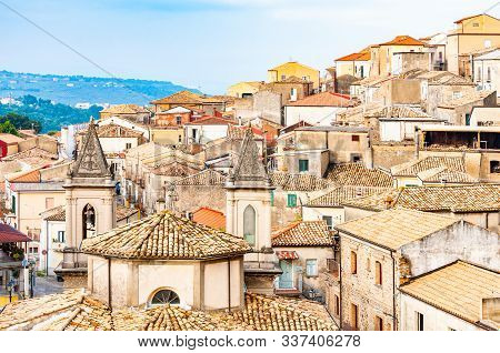 Traditional Italian Village Scenery. Cityscape Of Curinga In Calabria, Italy. Medieval Cityscape Sky