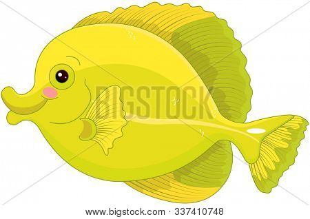 Illustration of cute yellow tang fish